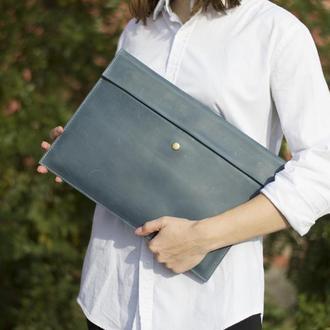 Кожаный чехол для Macbook на скрытом магните голубой