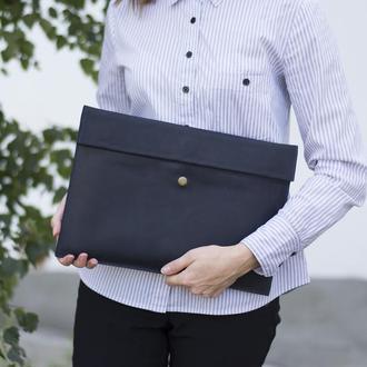 Кожаный чехол для Macbook на скрытом магните синий