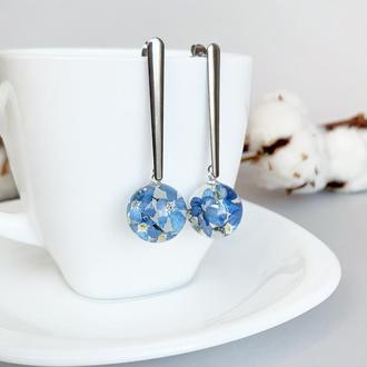 Длинные серьги с незабудками. Украшения из цветов. Синие незабудки. (модель № 2478) Glassy Flowers