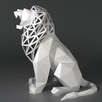 Наборы для создания 3д фигур Оригами Паперкрафт Бумажная модель Papercraft Лев Low Poly