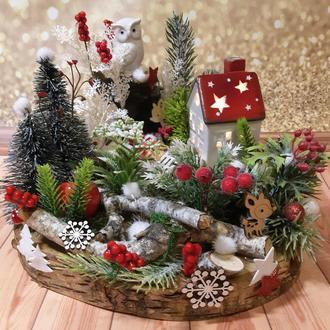 Новогодний рождественский подсвечник декор венок зимняя новогодняя  композиция композиція підсвічник