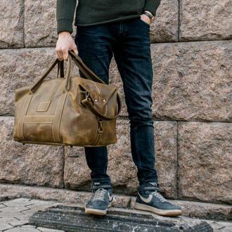 Дорожная зеленая сумка, Кожаная спортивная сумка оливкового цвета