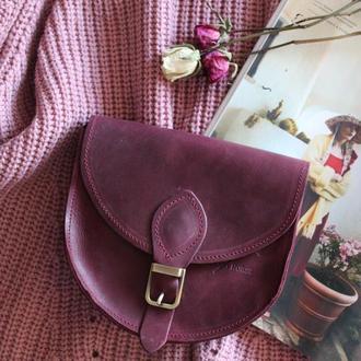Женская сумка из натуральной кожи с магнитом Brenda 002_bordo