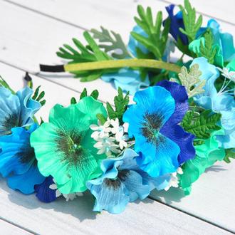 Обруч для волос  с цветами анютины глазки Украшение в прическу девочки голубые цветы