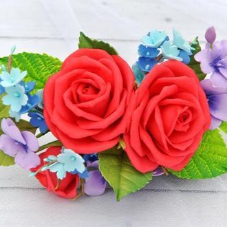 Заколка для волос с красными розами,незабудками Украшение в волосы гребень под вышиванку