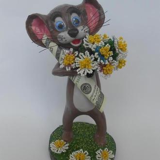 Счастливый мышонок. (скульптурный бисер)