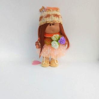 Кукла Тильда интерьерная в коричневых тонах
