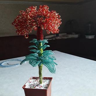 Цветы из бисера в горшке