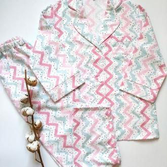 Женская пижама штаны и рубашка из фланели