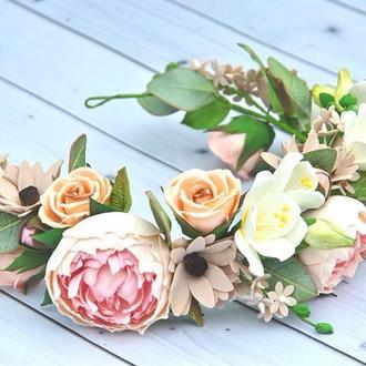 Свадебный венок с цветами в пастельных тонах Украшение для волос веночек с пионами,розами и фрезиями