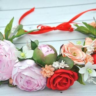 Венок для волос с пионами и розами Веночек розовые пионы и красные розы