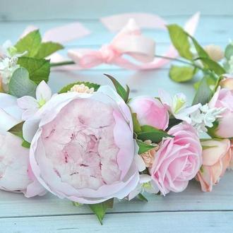 Свадебный венок с цветами в пастельных розовых тонах Венок с цветами для девочки