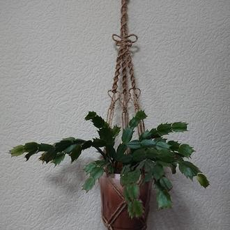 Подвесное кашпо для цветов из джутовой нити