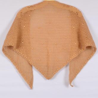 Осенний  женский шарф. Платок вязаный. Бактус. Шарф под пальто.Жіночий шалик. шарф крючком.Шаль