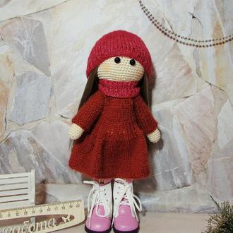 Куколка осенняя с комплектом одежды вязаная тыквоголовка