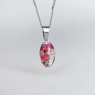 Маленькая подвеска-бочонок с вереском. Украшения из цветов. (модель № 2511) Glassy Flowers