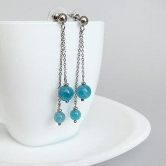 Длинные серьги-цепочки с аквамарином. Голубые серьги (модель № 579) JK jewelry