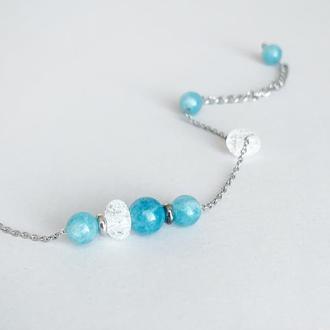 Тонкий браслет-цепочка с голубым аквамарином (модель № 580) JK jewelry