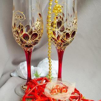 Бокалы для шампанского ′Бордовое искушение′