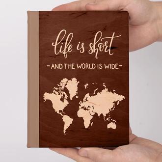 Деревянный блокнот с гравировкой, записная книжка, скетчбук Travel