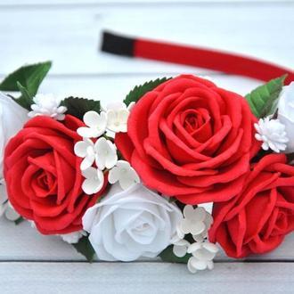 Обруч с цветами красные и белые розы Ободок с цветами для девочки