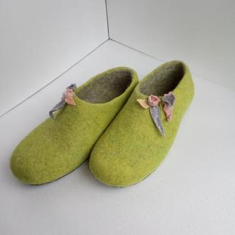валяные тапочки   felting домашние тапочки женская обувь для дома