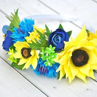 Обруч васильки и подсолнухи Ободок в волосы с цветами под вышиванку