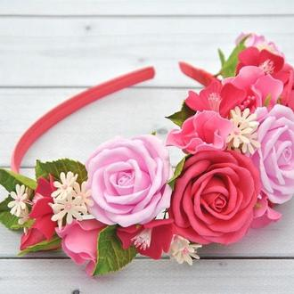 Обруч с розами украшение для волос Ободок для девочки розовые розы