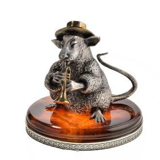 Серебряная статуэтка Крыска с дудкой. Подарок на новый год Крысы