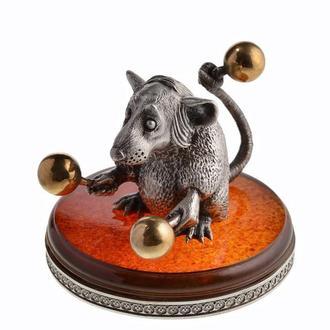 Серебряная статуэтка Крыска с маракасами. Подарок на Новый год Крысы