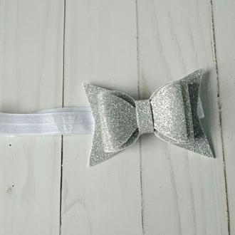 Серебряная повязка на голову малышке на годик Украшение для волос Подарок девочке на 2 года