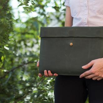 Кожаный зеленый чехол для Macbook на скрытом магните