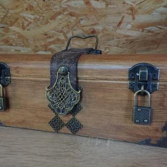 Деревянный сундук с замком под старину Мужская шкатулка купюрница Шкатулка для денег