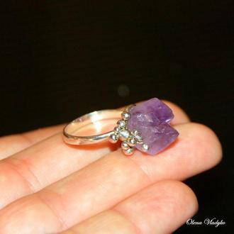 Серебряное кольцо с аметистом, серебряное кольцо с камнями, подарок