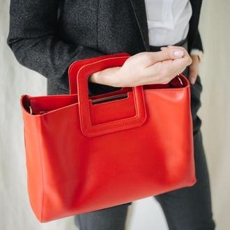 Женская кожаная красная сумка  со съемным плечевым ремнем