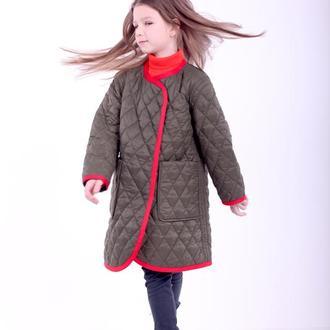 Детское стегане пальто демисезонное двухстороннее