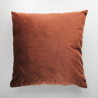 Коричневая велюровая наволочка для декоративной подушки