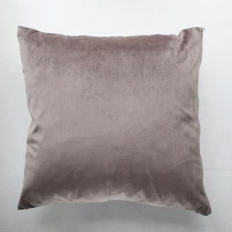 Серая велюровая наволочка для декоративной подушки