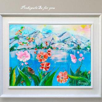 Картина маслом. Озеро в горах! Полотно на підрамнику 50х60 див. Галерейна натяжка полотна.