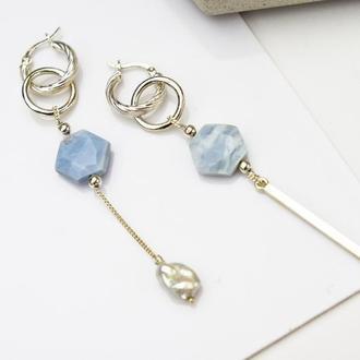Длинные серебряные серьги-трансформеры с голубым опалом