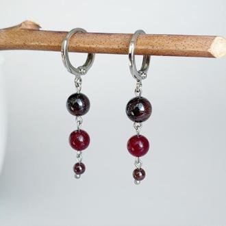Длинные серьги-гусеницы из натурального граната (модель № 587) JK jewelry
