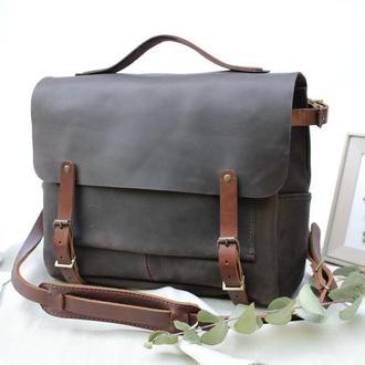 Мужская кожаная сумка через плечо. Кожаная мужская сумка.