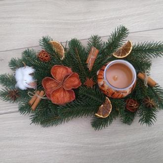 Рождественская свеча. Композиция со свечами на стол. Подсвечник новогодний