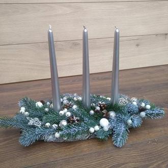 Підсвічник новорічний, різдвяний. Різдвяна свічка. Композиція зі свічками на стіл.