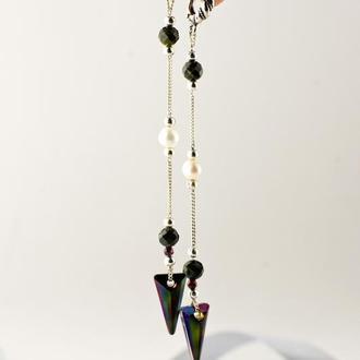 Длинные серьги с кристалами Swarovski