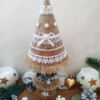 Новогодняя декоративная елочка в стиле Шебби шик Интерьерная елочка