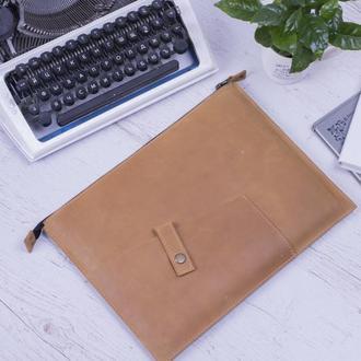 Кожаный чехол для Macbook на молнии желтый