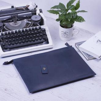Кожаный чехол для Macbook на молнии синий