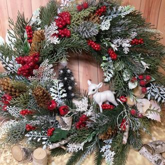 Новогодний рождественский венок подсвечник декор новорічний вінок подсвечник