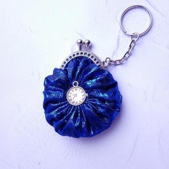 Брелок синий мини-кошелек/Мини-кошелек синий с временами/Мини-кошелек/Подарок/футляр для украшений